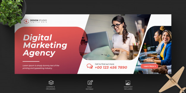 Corporate and digital business marketing promotion facebook cover template Premium Psd