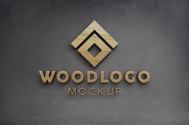 Elegant and luxury wooden 3d logo mockup on wall Premium Psd