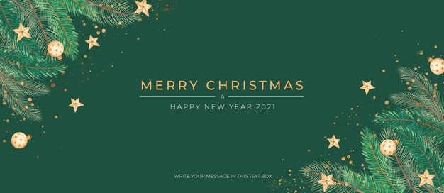 Elegant green christmas banner with golden ornaments Free Psd