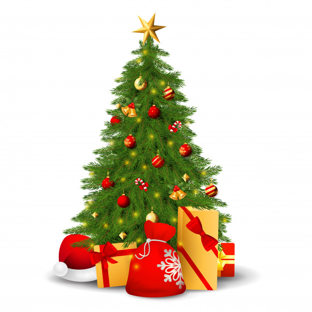 Fir tree with decorations, presents and santa hat Free Vector