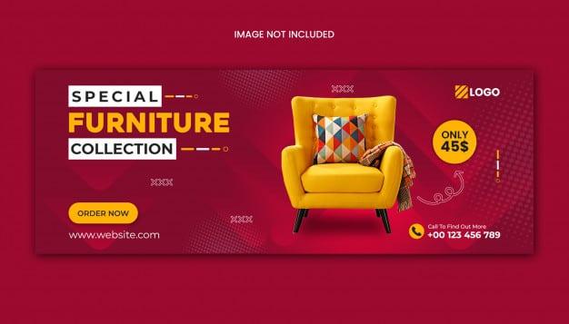 Furniture sale facebook cover template Premium Psd