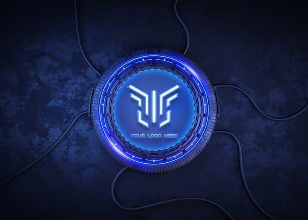 Futuristic circle for logo mockup Premium Psd