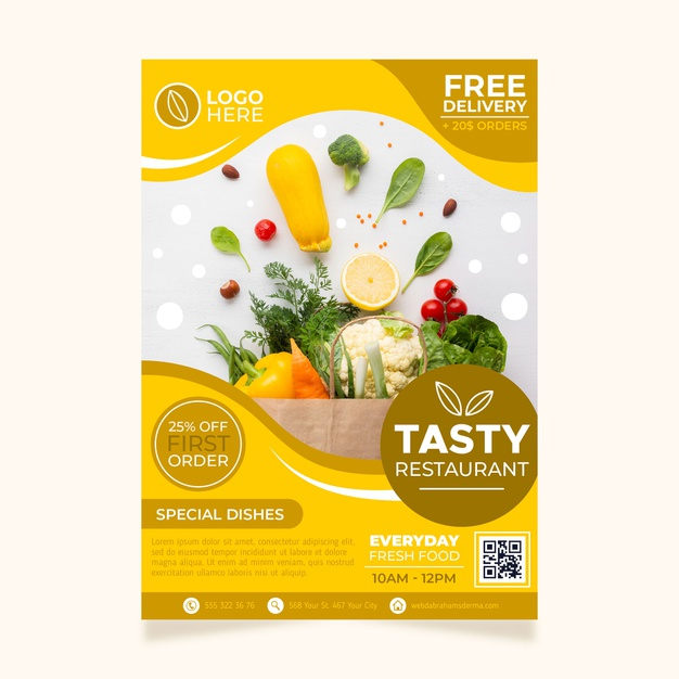 Healthy food restaurant poster template Premium Vector