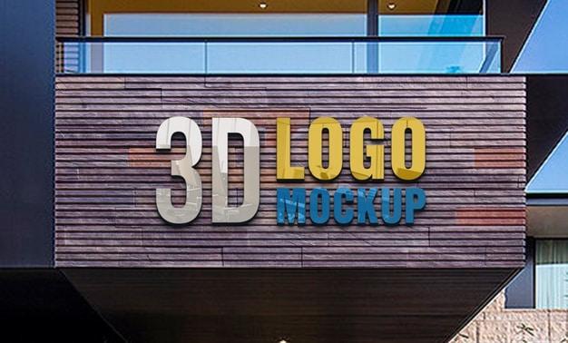 Luxury hotel and restaurant logo mockup Premium Psd