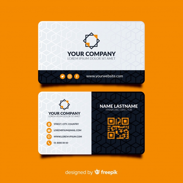 Modern business card template with abstract shapes Premium Vector