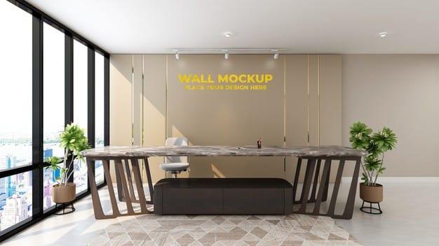 Modern office lobby waiting room wall logo mockup Premium Psd