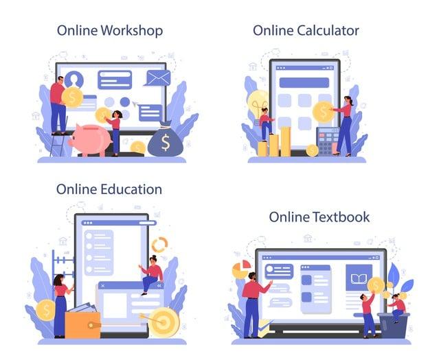 Online platform banner template Premium Vector