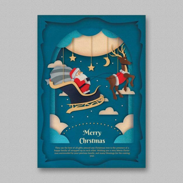 Paper art christmas flyer template Free Psd