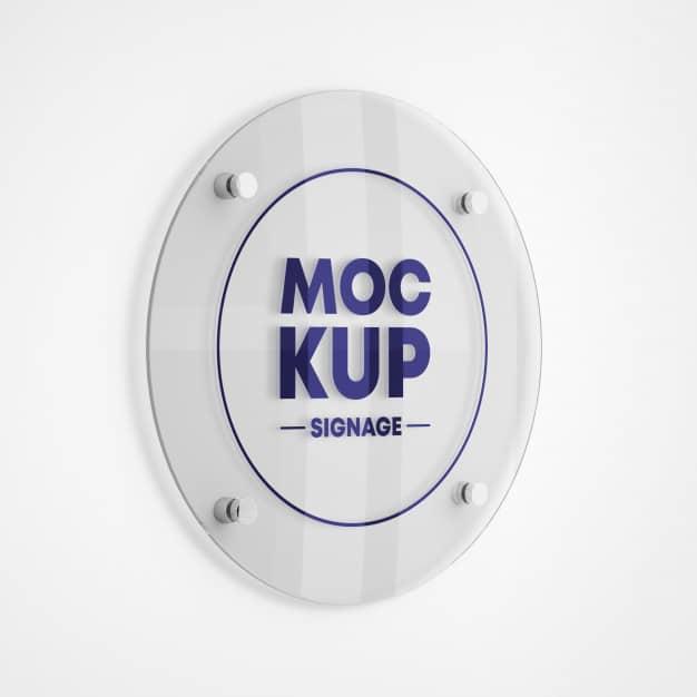 Round glass signage logo mockup Premium Psd
