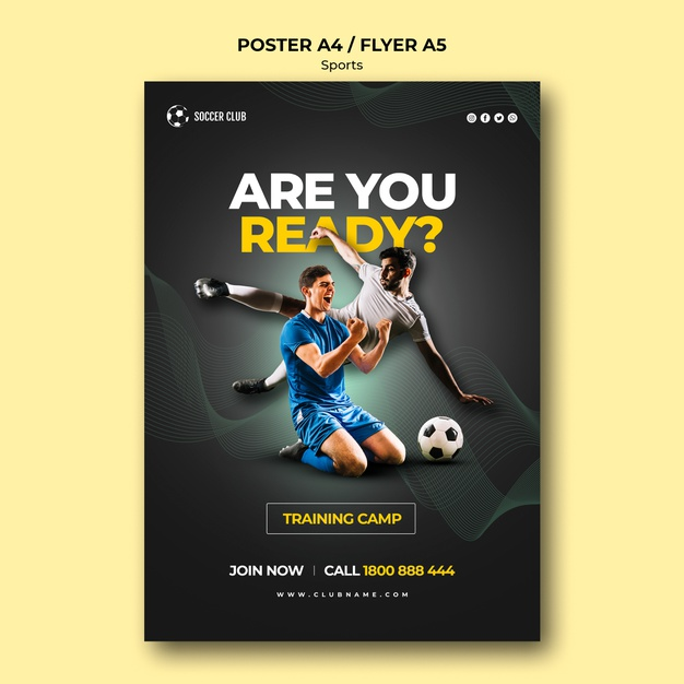 Soccer club training camp poster Premium Psd