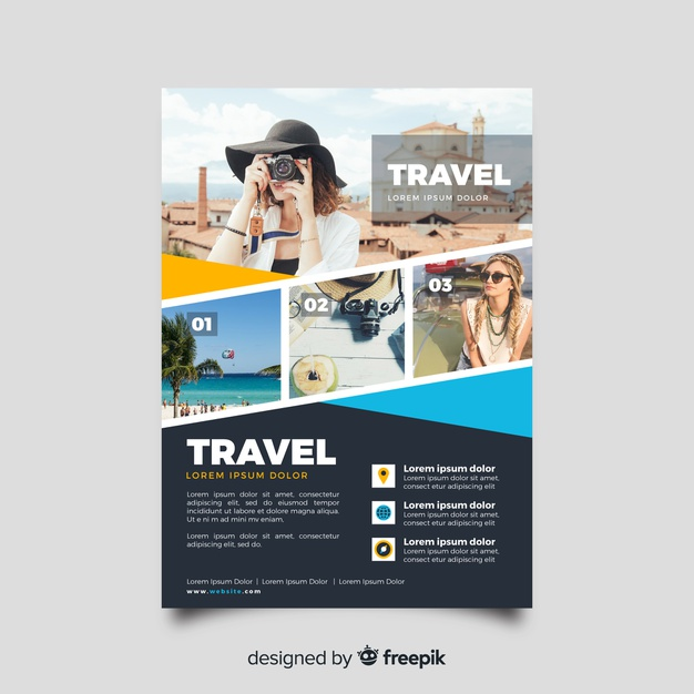 Travel flyer template with photo Premium Vector
