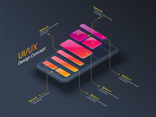 Ui or ux design concept Premium Vector