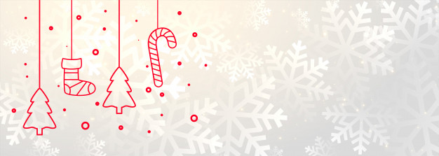 White merry christmas banner with xmas decoration Free Vector