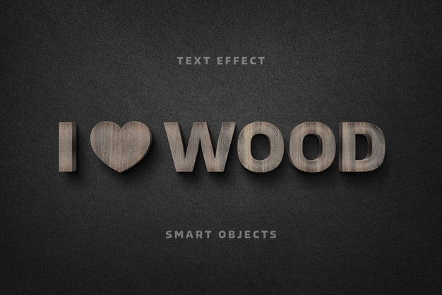 Wooden letters text effect template Premium Psd