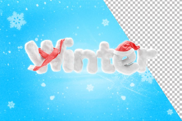 3d rendering of snow winter text with hat and scarf Premium Psd