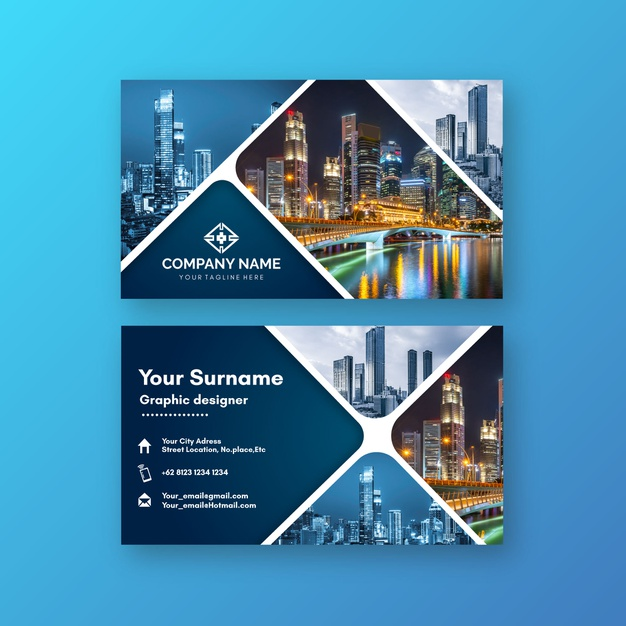 Abstract business card template with photo Premium Vector