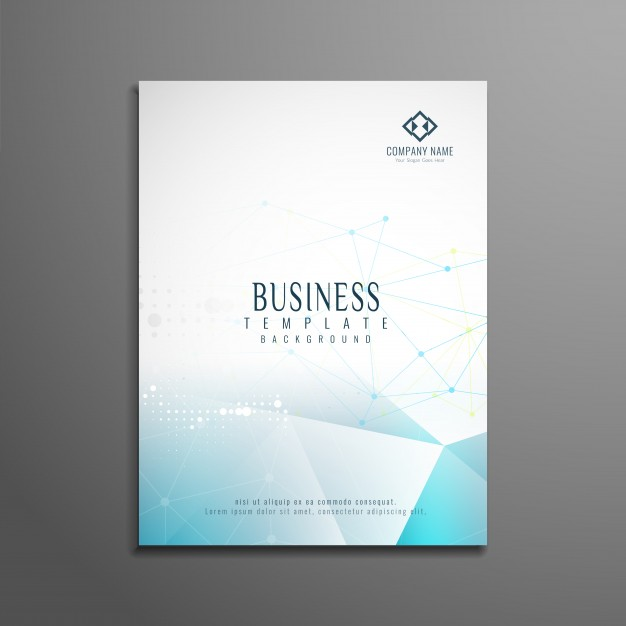 Business brochure template with blue polygonal shapes Free Vector