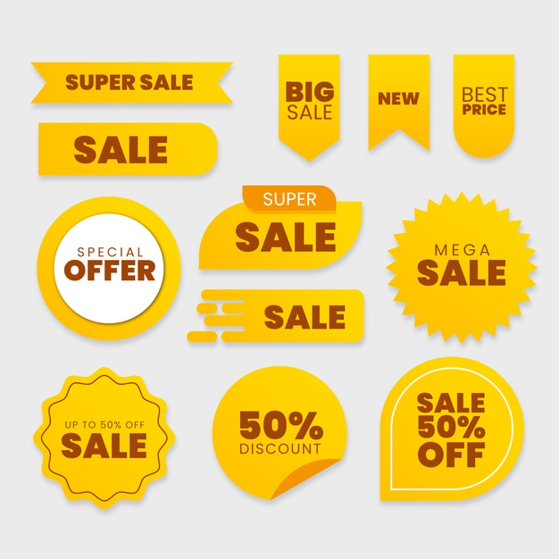 Collection of sales label Premium Vector