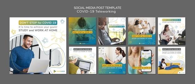 Coronavirus social media posts template with picture Premium Psd