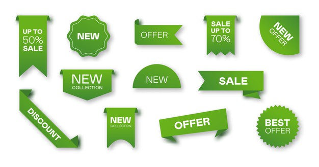 Different sale green ribbons flat icon set. price badges, special offer labels and discount
