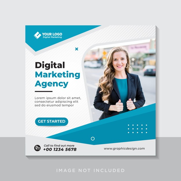 Digital business marketing social media banner or square flyer Premium Vector