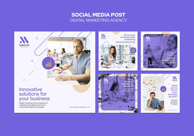 Digital marketing agency social media post template Premium Psd