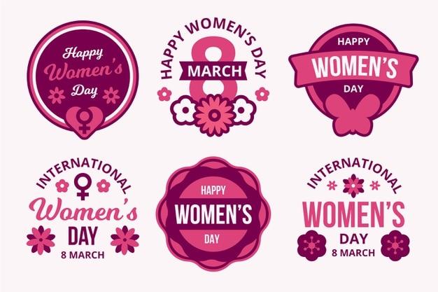Flat design international women's day labels set Free Vector