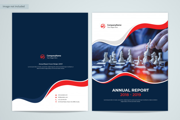 Front & back annual report cover design with image Premium Psd