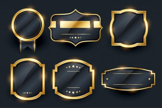 Luxury golden badge and labels set design Free Vector