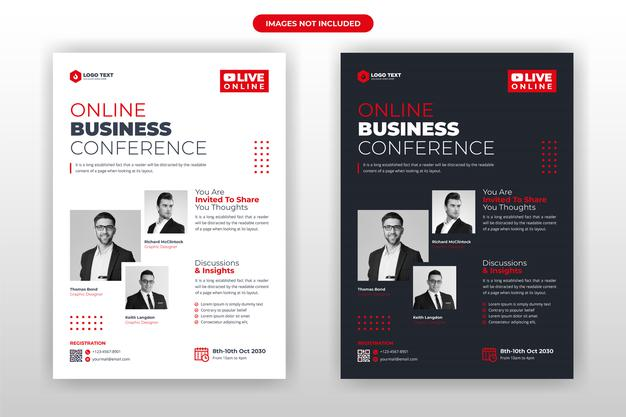 Online business conference flyer template design Premium Vector