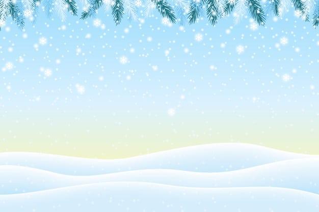 Realistic snowfall background Premium Vector