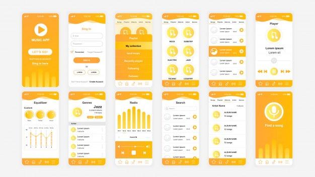 Set of ui, ux, gui screens music app flat template Premium Vector
