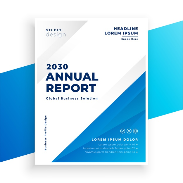 Simple annual report business brochure template design Free Vector