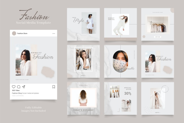 Social media template banner fashion sale promotion. fully editable instagram square post frame puzzle Premium Vector
