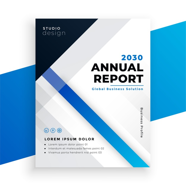 Stylish blue annual report business brochure design Free Vector