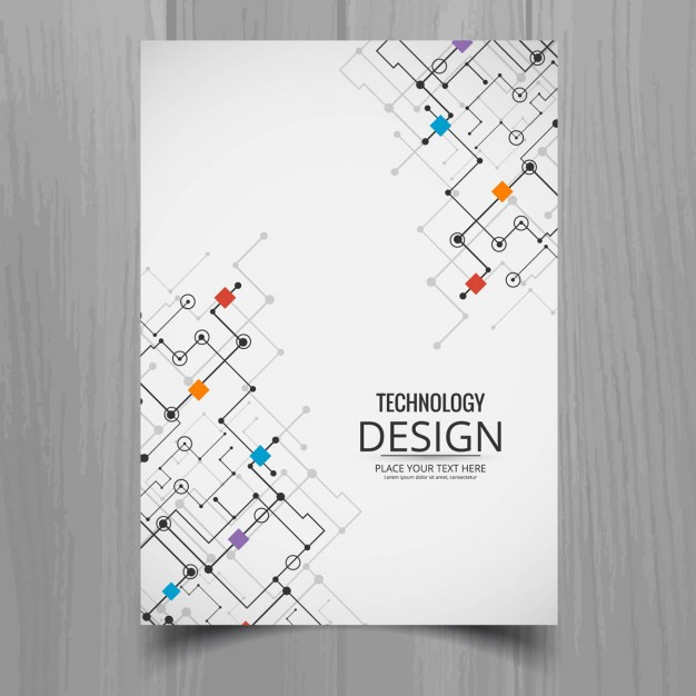 White brochure, technological style Free Vector
