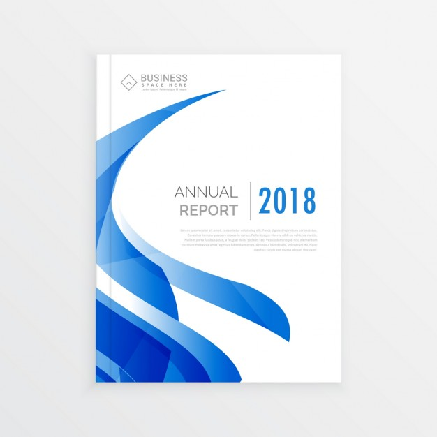 White business brochure with blue wavy shapes Free Vector