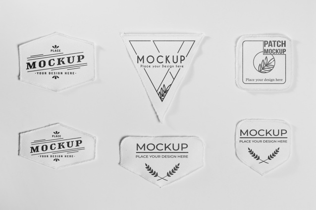 White clothing patch set Free Psd