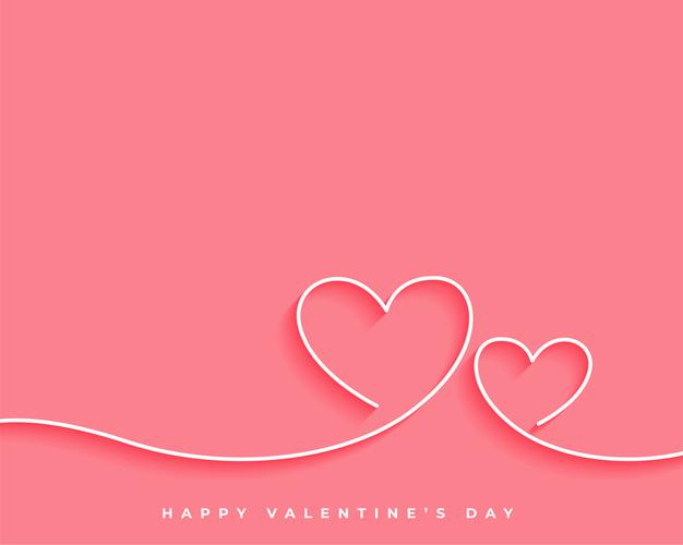Happy valentines day line heart card design Free Vector