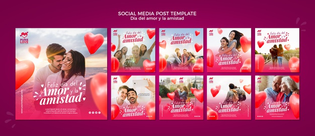 Instagram posts collection for valentines day celebration Psd