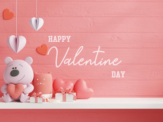 Mock up wall for valentine's day Psd