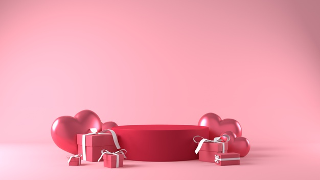 Paodium for product placement in valentines day with decorations Free Photo