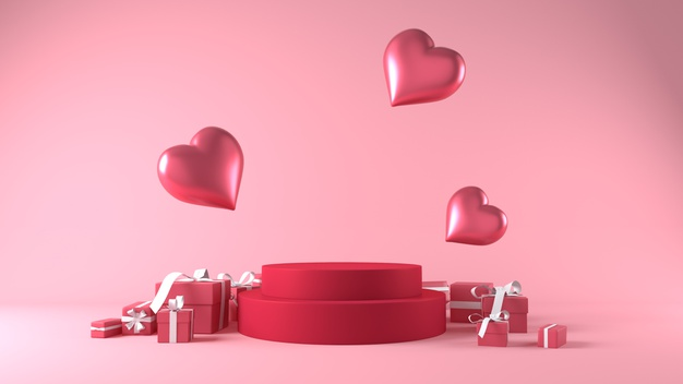 Podium for product placement in valentines day with decorations Photo