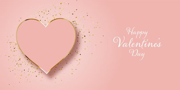 Valentines day banner design with gold glitter and heart Vector
