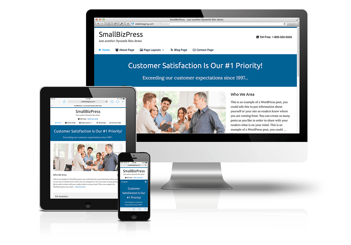 CobaltApps SmallBizPress Skin for Dynamik Website Builder