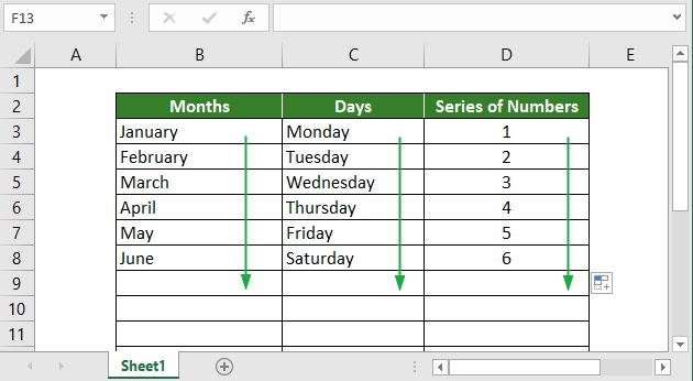 Excel AutoFill and Fill handle