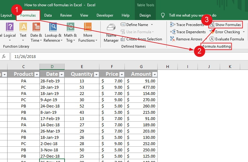 Show cell formulas in Excel