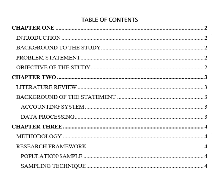 Table of content in inserted in Microsoft Word
