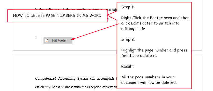 2 steps on how to delete page numbers in Word
