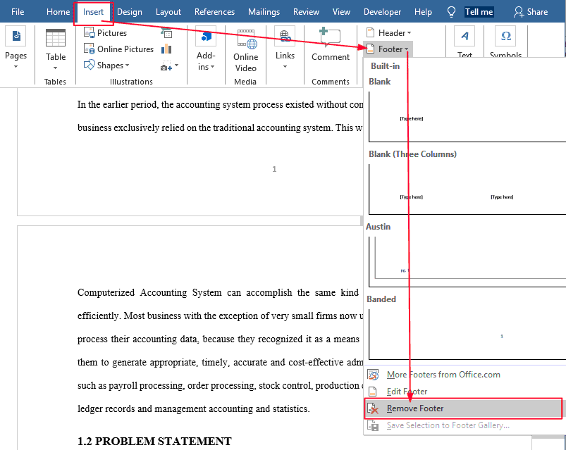 Remove the footer to remove page numbers in word